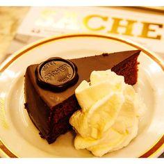 Vienna's legendary Sachertorte. See fellow travelers' decadent food photos. Photo courtesy of tanveerbadal on Instagram.