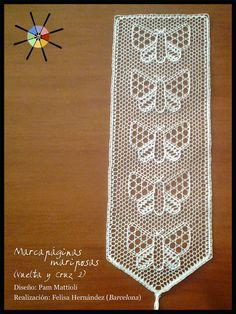 """""""Marcapáginas mariposas"""", de la revista de bolillos Vuelta y Cruz Nº2. --- """"Butterfly bookmark"""", from N.2 of Twist and Cross bobbin lace magazine."""