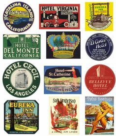 Reproduction Vintage Suitcase Steamer Trunk Labels - California No 1 in Home, Furniture & DIY, Luggage & Travel Accessories, Luggage Vintage Suitcases, Vintage Luggage, Vintage Travel, Luggage Stickers, Luggage Labels, Bellevue Hotel, Tiny Bath, Hotel Del Coronado, Stickers