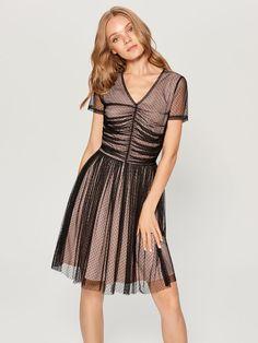 Sukienka z marszczeniem w talii - czarny - VA936-99X - Mohito - 1 Short Sleeve Dresses, Dresses With Sleeves, Fashion, Moda, Sleeve Dresses, Fashion Styles, Gowns With Sleeves, Fashion Illustrations