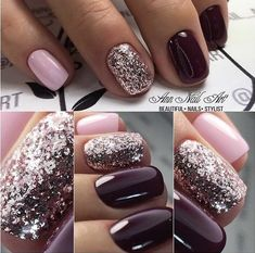 #nails #pink #purple #glitter #glitternails
