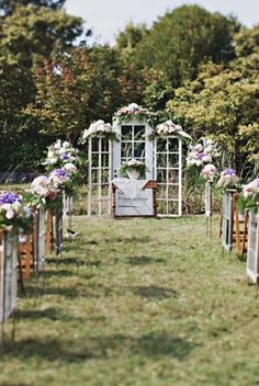 cool idea... old windows and doors for the ceremony