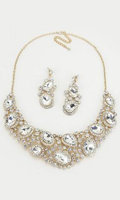 It's okay to bling out style daily! Crystal Marie Anne Necklace in Gold