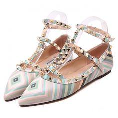 European Fashion Style Rivets Belts Buckle Stripe Women Flat Shoes ($14.50) http://www.clubwholesale.net/shoes/flats