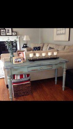 Vintage blue sofa table