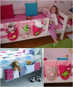 Bedside Storage Pockets - Easy to Sew and Convenient for bedtime stories, teddy and even a flashlight.