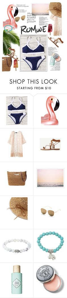 """""""ROMWE - Black And White Printed Criss Cross Bikini Set"""" by miss-maca ❤ liked on Polyvore featuring Sunnylife, Benefit and Bobbi Brown Cosmetics"""