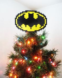 Batman Perler Bead Christmas Tree Topper by LighterCases on Etsy, $40.00