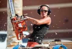 Skill set: The woman compete in categories such as underhand chopping, standing block chopping, hot sawing, cross cut sawing, axe throwing and log rolling