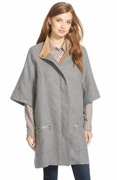 Caslon® Cotton Twill Zip Front Cape available at #Nordstrom