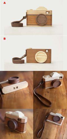 Handmade Wooden Camera Model Toy Desktop Decoration Gift