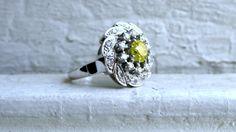 Retro Vintage 14K White Gold Diamond and Yellow by GoldAdore, $1,995.00