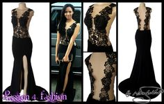 Black illusion lace bodice, matric ball dress. With a slit and a train.