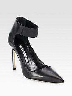 "Put your best foot forward in this leather point-toe pump, designed with an elasticized ankle strap for a modern touch. Self-covered heel, 4?"" (110mm) Leather upper with elastic ankle strap... More Details"