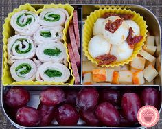 Lots and lots of great lunch ideas, healthy and creative lunch box ideas in nice portions | by What The Girls Are Having