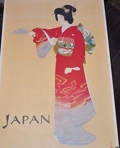 "Original Japan Geisha Poster ~ 1960 39"" x 24"" by Mitsumura"