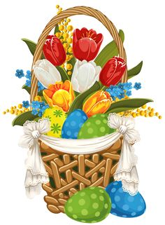 Painted Easter Basket with Easter Eggs PNG Clipart