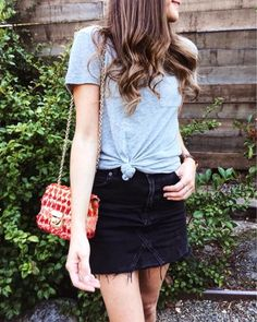grey tee and denim skirt, casual style inspiration, summer style inspiration, summer outfit, black denim skirt outfit, grey knotted tee outfit, edgy style inspiration