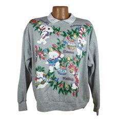 Ugly Christmas Sweater Vintage Sweatshirt Bears Scene Party Xmas Tacky Holiday