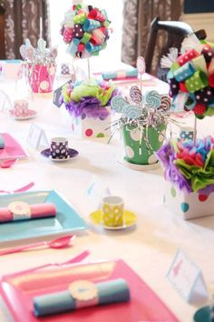 Ribbon Topiary in Turquoise, Pink and Hot Pink Purple and Lime Mad Hatter Tea Party and matching pot. $40.00, via Etsy.