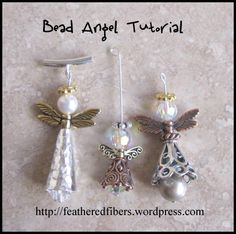 Angel Bead Tutorial - Here is an easy tutorial for bead lovers, including new beaders. I made all three bead angels i - Beading Projects, Beading Tutorials, Beading Patterns, Free Tutorials, Bracelet Patterns, Beaded Christmas Ornaments, Christmas Earrings, Bead Crafts, Jewelry Crafts