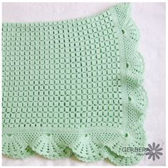 CROCHETED BABY AFGHAN Blanket soft green color for baby 90cm cotton with acrylic. $80.00, via Etsy.