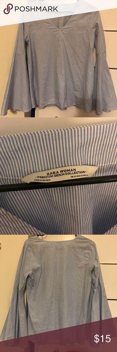 Zara bell sleeve pinstripe shirt Zara shirt, premium denim collection Zara Tops Blouses