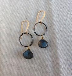 Labradorite Gunmetal and Gold Dangle Earrings Gemstone Mixed Metal Jewelry