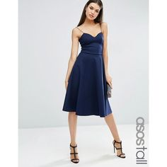 ASOS TALL Scuba Strappy Midi Skater Dress ($46) ❤ liked on Polyvore featuring dresses, navy, navy dress, v neck fit and flare dress, navy skater dress, navy camisole and navy blue midi dress