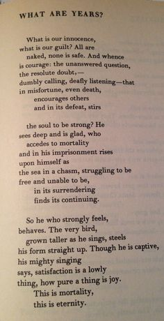 """Marianne Moore, """"What Are Years?"""""""