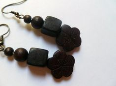 Earrings   Wooden Beads in Black Hibiscus by mulberrymoosetoo, $6.00