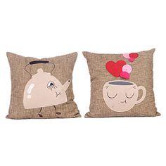 Set of 2 Cartoon Kettle Cotton Decorative Pillow Cover – AUD $ 29.50 TEA LOVE
