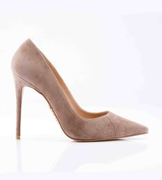 Shoes: 'PARIS' Suede Mocha Patent Leather Pointy Toe Heels