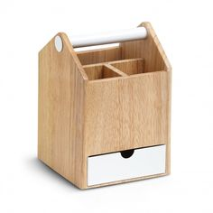 Toto Tall Storage Box - a perfect wood and metal organizer for hosting a chic picnic, for keeping kitchen tools at-the-ready on your counter,  or for keeping track of all those colorful desk accessories in your home office.
