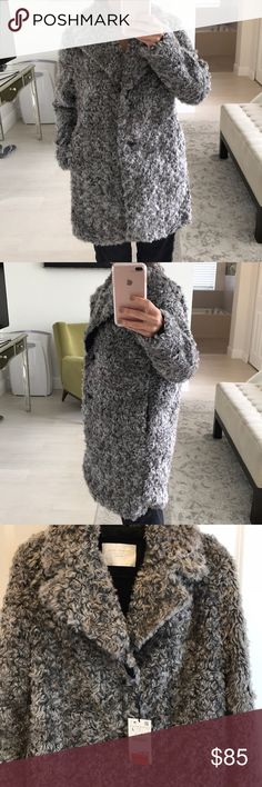 Zara faux fur teddy bear coat Brand new with tags! Beautiful, soft, great fit and length. Size large but fits like a med. runs very small for a large. Hard price Zara Jackets & Coats