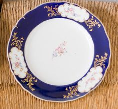 Blue and White Dinner Plates set of 3 UNUSUAL by TheVintageKate, $75.00