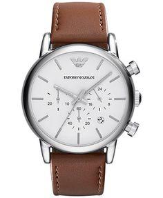 Emporio Armani Men's Chronograph Brown Leather Strap Watch 41mm AR1846