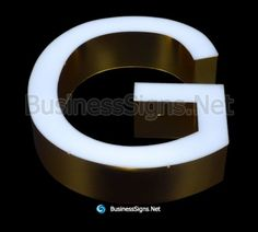 LED Front-lit Business Signs With Mirror Polished Gold Plated Stainless Steel Letter Shell Signage Design, Business Signs, Side View, Shell, Channel, Surface, Polish, Stainless Steel, Led