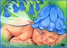 Bluebells Fairy Baby ACEO by Katerina-Art.deviantart.com on @DeviantArt