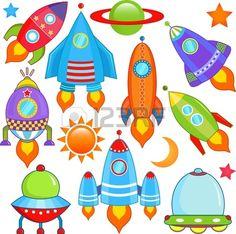 vector de la colección de la nave espacial, nave espacial, el cohete, UFO Foto de archivo - 12184949