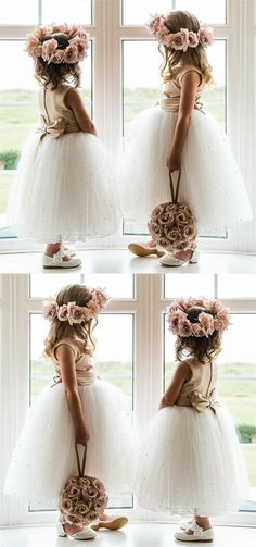 A-Line Round Neck Ankle-Length White Tulle Flower Girl Dress with Beading Bow,