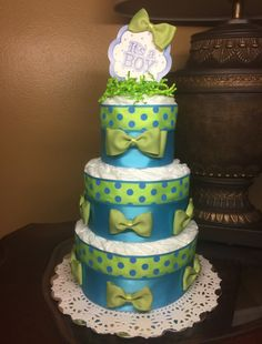 Three tier diaper cake baby boy diaper cake 55$