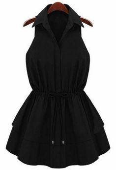 Black Lapel Sleeveless Drawstring Ruffles Dress - Sheinside.com Mobile Site