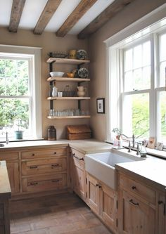 calming neutral kitchen . cypress cabinets (aged