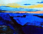 "Landscape painting 5x7"" acrylic on gessoed panel - Shades of blue orange black and white - impressionist fine art by @cristinajaco"