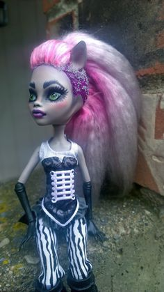 Dirty Pink and Punk as Fuck  OOAK custom monster high doll Clawdeen Wolf by @ladyspoonart