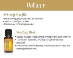 Learn about doTERRA Vetiver essential oil uses. I explain all about vetiver and all the ways you can use it and how to use it. Vetiver Essential Oil Uses, Essential Oils For Nausea, Vetiver Oil, Ginger Essential Oil, Essential Oil Blends, Diy Savon, Glow, Purifier, Oil Benefits