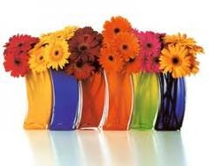 rainbow vases with matching flowers would look better