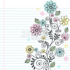 Hand-Drawn Sketchy Doodle Flowers and Vines