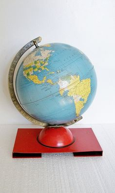 "RESERVED - 1950 Retro World Globe -8"" Child's Tin Globe - Very Hard to Find - TREASURY PICK"